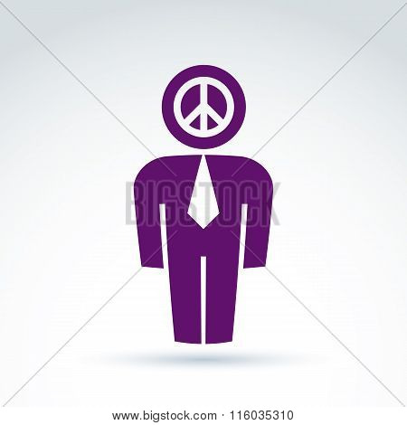 Silhouette Of Person Standing In Front, Vector Illustration Of Peacemaker.  Delegate