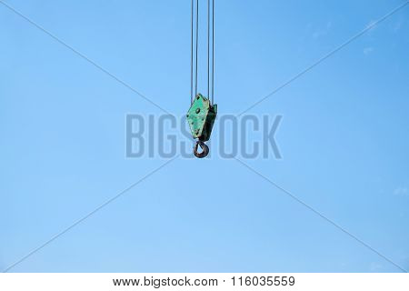 Close Up Of Heavy-duty Steel Hook On Blue Sky Background