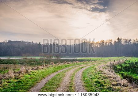 Countryside Road In The Sunset