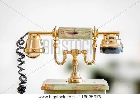Golden Telephone In Retro Style