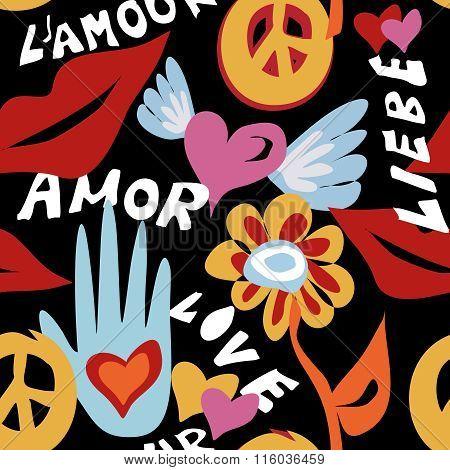 Valentines Day Retro Hippie Seamless Pattern