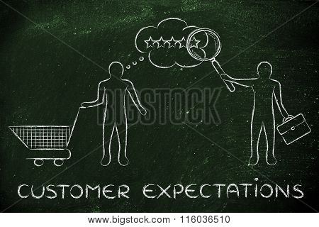 Businessman Reading Customer's Mind, With Text Customer Expectations