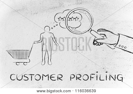 Magnifying Glass To Read Client's Mind, With Text Customer Profiling
