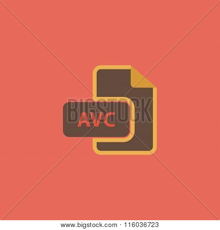 AVC file icon. Flat vector illustrator