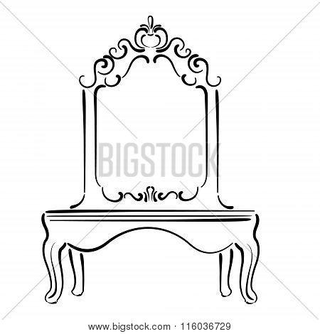 Big standing mirror. Vintage interior. Sketch