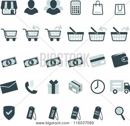 gray shopping icon set