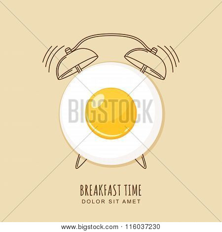 Fried Egg And Outline Alarm Clock, Vector Illustration Of Breakfast.