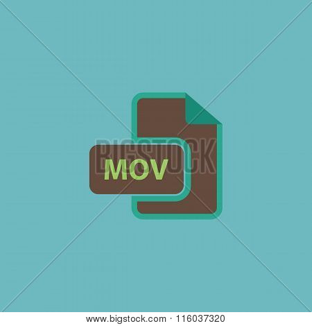 MOV video file extension icon vector.