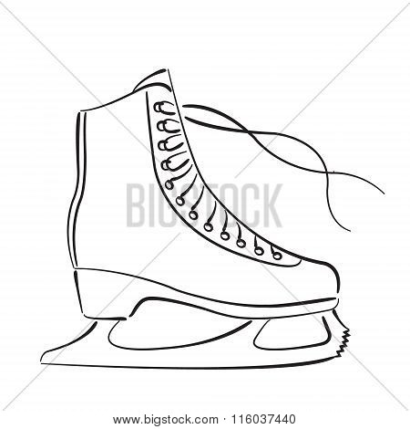 Elegant sketched ice skates isolated on white