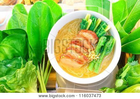 Noodles Soup With Pork And Vegetable Chinese Style - Fake Dish Of Asian Vermicelli Soup
