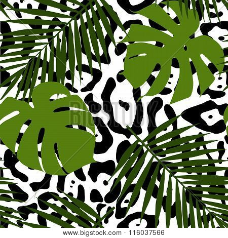 Tropical leaves and animal skin seamless pattern. Vector illustration.