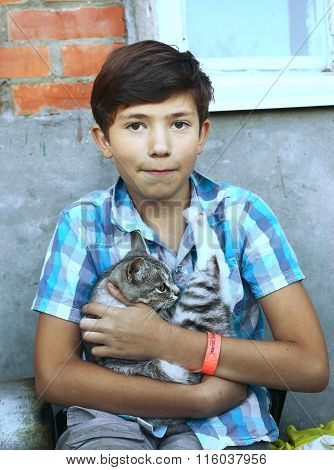 Handsome Boy With Country Cat Close Up Portrait