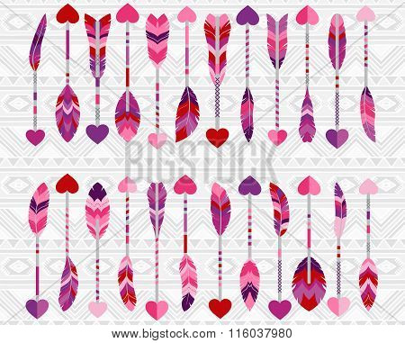 Collection of Cute Valentine's Day or Wedding Themed Feather Arrows