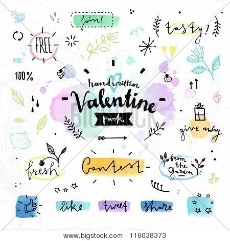 Floral Drawing Elements Valentines Day Vector Graphics