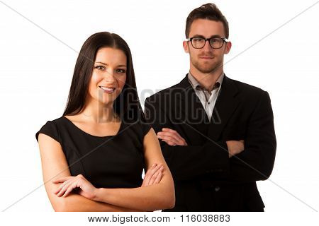 Confident Business Couple Standing One Behind The Other As A Sign Of Support. Conceptual Image.