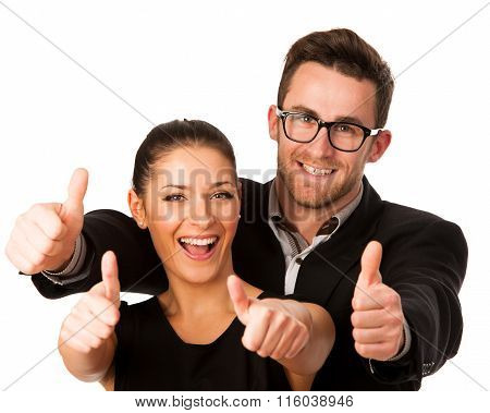 Confident Business Couple Standing Next To Each Other And Showing Thumbs Up As A Sign Of Success And