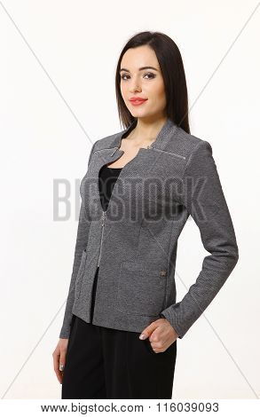 Brunette Business Woman Isolated On White