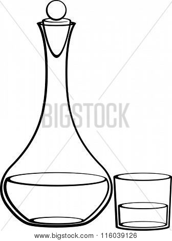 decanter with stopper and glass