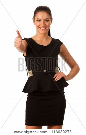 Businesswoman Standing And Showing A Sign Of Success, Pride, Confidence And Happiness. Conceptual Im