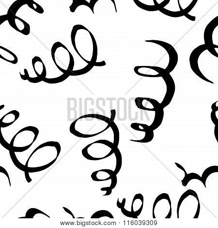 Seamless Pattern With Spiral Curls. Hand-drawn Doodle Maked By Calligraphy Pen.