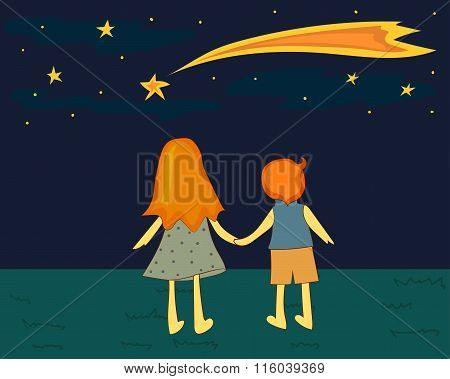 Children looking at a falling star.