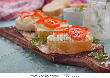 Sandwich With Goat Cheese And Cherry Tomatoes