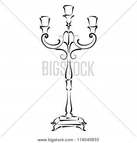 Sketched candle holder. Vector illustration.