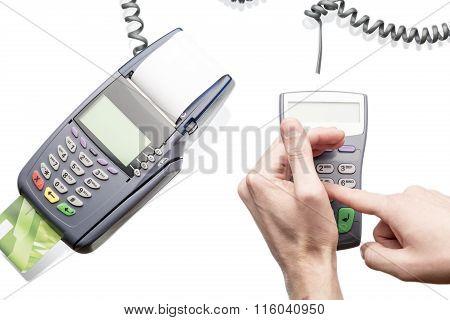 Man using payment terminal keypad