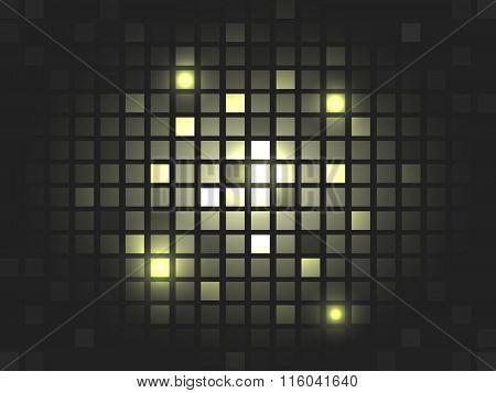 Abstract vector golden mosaic pixel background.
