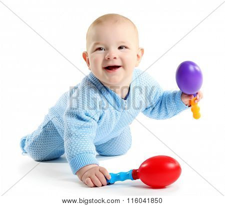 Adorable baby with plastic musical toy isolated on white background