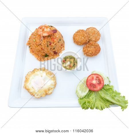 Fried Rice With Chili And Prawns, Deep-fried Shrimp Cakes, Fried Egg, Thai Spicy Food