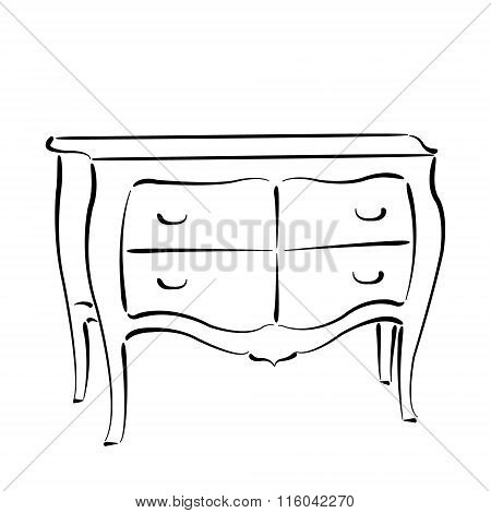 Sketched chest of drawers isolated on white
