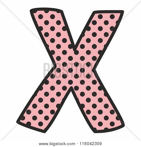 X alphabet pink vector letter with polka dots isolated on white