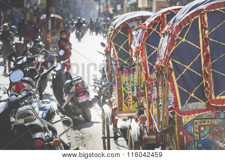 Wheeled Rickshaws Waiting For Customers In Kathmandu