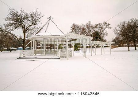 Snowy Park Gazebo