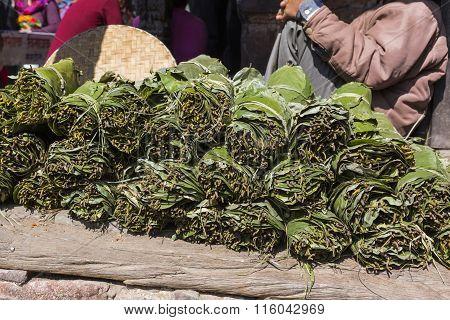 Woman Nepal Selling Fruit And Vegetable At Market In Kathmandu, Nepal