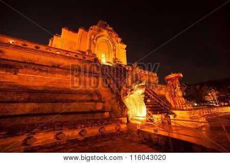 Night Scene Of Ancient Pagoda In Wat Chedi Luang,Chiang Mai,Thailand.