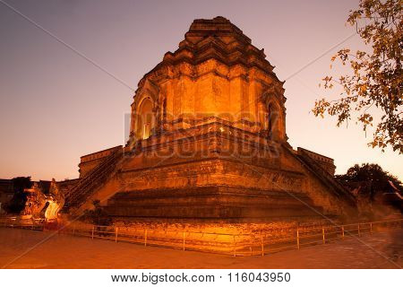 Twilight Scene Of Ancient Pagoda In Wat Chedi Luang,Chiang Mai,Thailand.