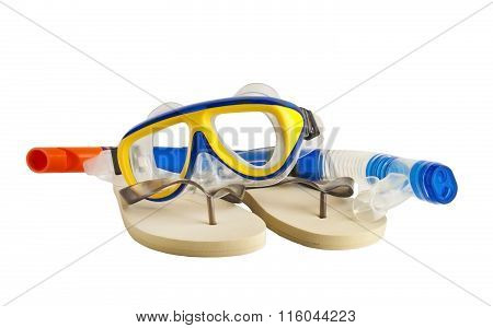 Snorkel and Mask for Diving and flip-flops.
