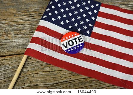 American vote button on flag