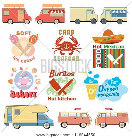 Car badge logo. Car for sale of food, drink. Auto store vector element.