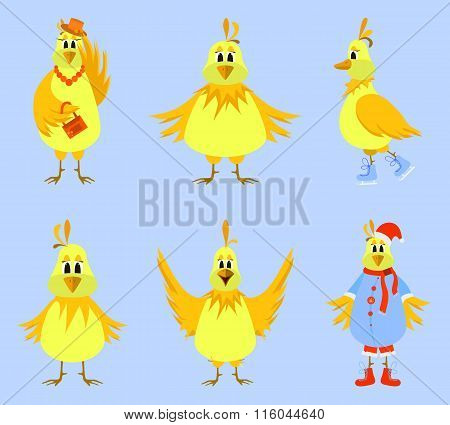 Cute cartoon yellow birds. Vector illustration.