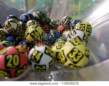 Lottery balls during extraction