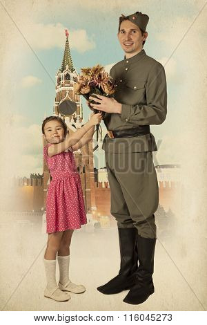 Little Girl Giving Bouquet Of Flowers To Soviet Soldier