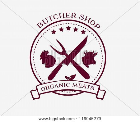 Butcher Shop Design Elements, Labels, Badges Logo