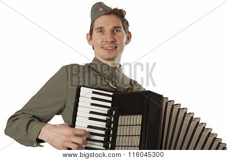 Portrait Of Soviet Soldier With Accordion Over White