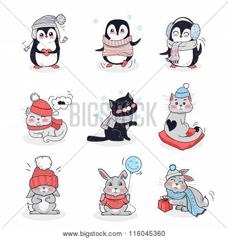 Set Animals in Warm Clothes Design Flat