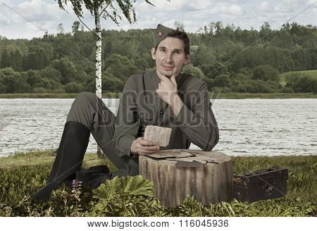 Red Army Soldier With A Letter