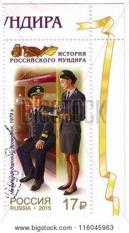 Russia - Circa 2015: A Stamp Printed In Russia, Shows Chief Of The Road And The Conductor (1979), Se