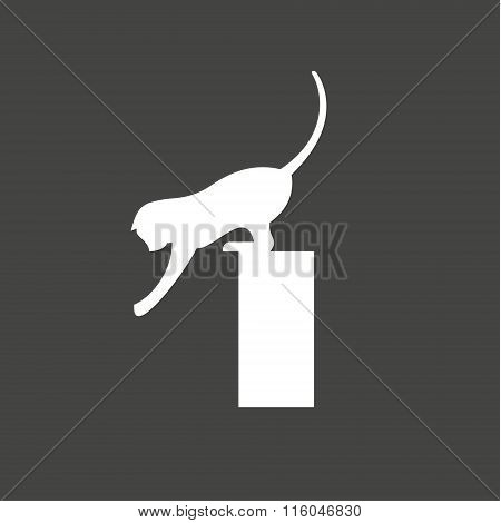 Cat playing reaching, flexible agile animal, vector illustration of a flat sign